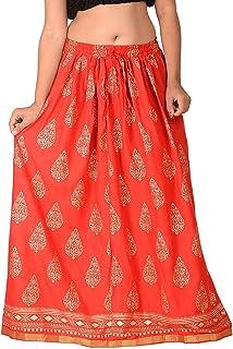 779e717fa4 DIAMO Casual Rayon printed long skirt (size: length- 39 Inches) Waist-