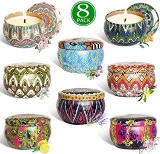 Addbeaut Scented Candles Gift Sets, Natural Soy Wax 2.5 Oz Unit Portable Travel Tin Perfect for Women Aromatherapy Anniversary - 8 Pack