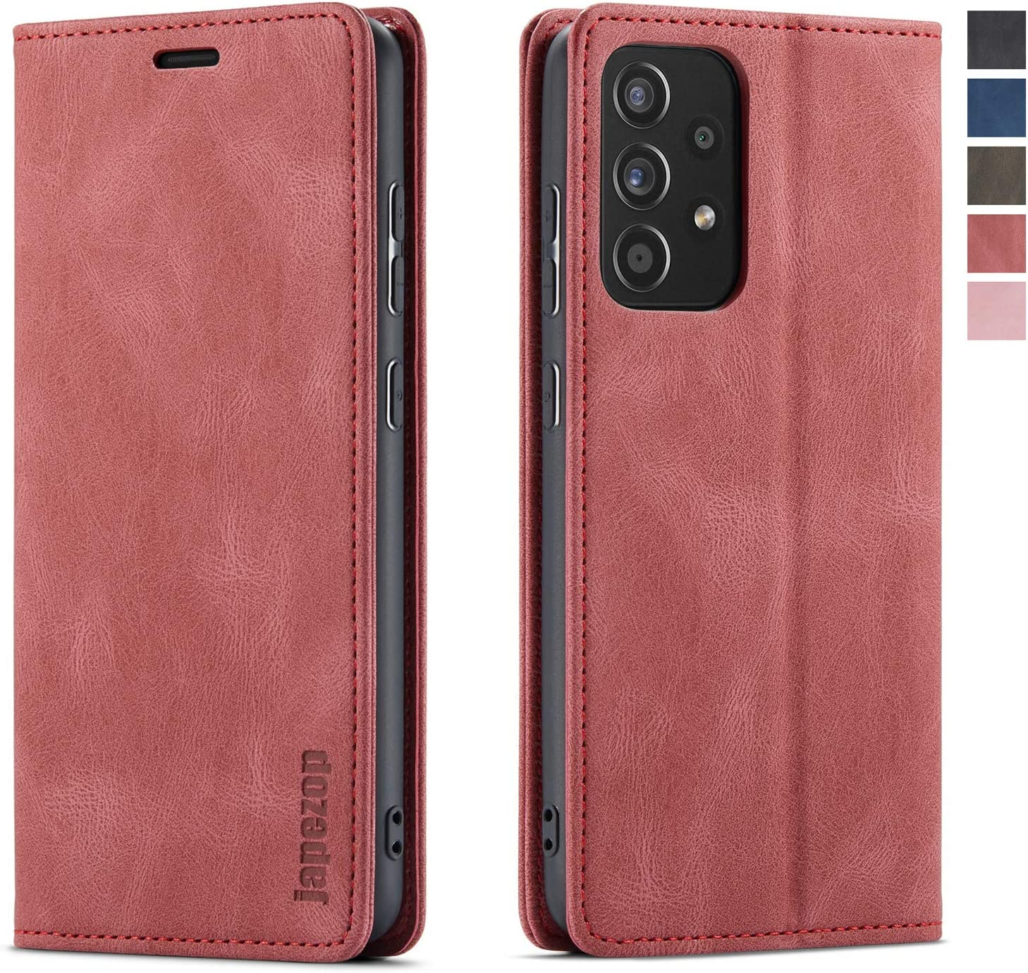 Samsung Galaxy A52 5G Case,Samsung Galaxy A52 5G Wallet Case for Women with Card Holder [RFID Blocking] Kickstand Magnetic,Leather Flip Case for Samsung Galaxy A52 5G 6.5 Inch (Wine Red)