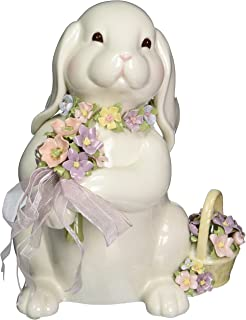 Cosmos SA49123 Fine Porcelain Bunny with Flower Bouquet Musical Figurine, 8-Inch
