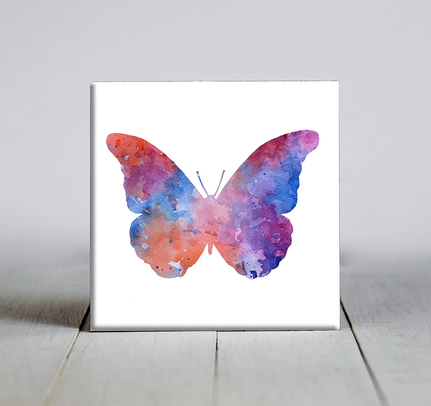 Blue Abstract Butterfly Watercolor Art 5 popular Max 84% OFF 4 Decorative Tile X 4.25