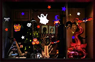 Honch Halloween Window Clings Window Stickers Halloween Window Decorations Pumpkin Bat Ghost Static Stickers for Glass Windows (B)
