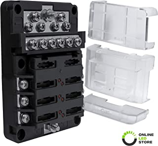6-Way Power/12-Way Ground 100A Modular Fuse Box [Expandable to 12 Positive 12 Negative] [LED Blown Fuse Indicator] [Protective Cover] Distribution Block ATC/ATO Blade Fuse Holder Comes with Labels