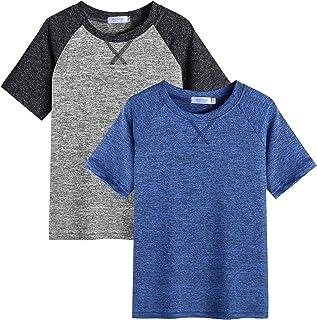 Arshiner 2 Pack Boys Active Performance Raglan Shirts Short Sleeve Dry-Fit Tee Shirt