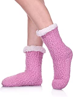Women Slipper Socks Soft and Warm Faux Shearling Lining and Non Skid Tread Sole Great Plush Slip On House Slippers