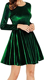 Womens Velvet Casual Short/Long Sleeve Peter Pan Collar Flare Skater Short Dress