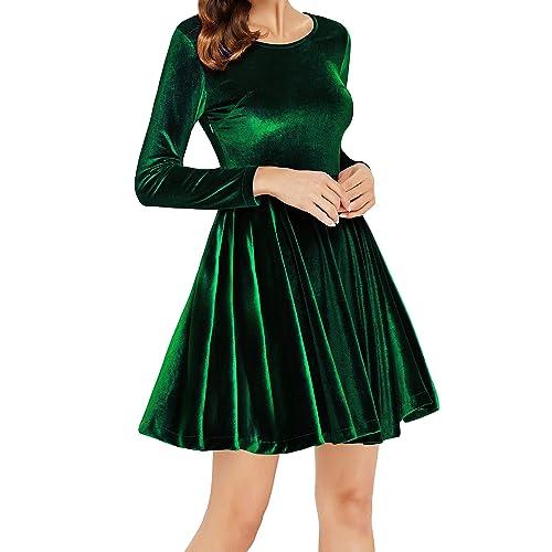 70463006ad Annigo Womens Velvet Casual Short Long Sleeve Peter Pan Collar Flare Skater  Short Dress