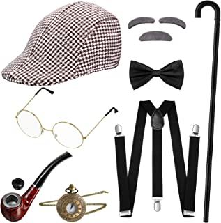 1920s Men Costume Accessories Gatsby Gangster Old Man Costume Vintage Grandpa Accessories Set, Hat, Bow Tie, Pocket Watch, Suspender, Glasses, Cane (Coffee Color)