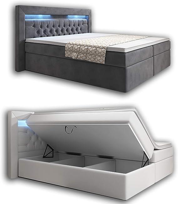 wohnenluxus York - Cama con somier y colchón con luz LED, Blanco, 140 x 200 cm