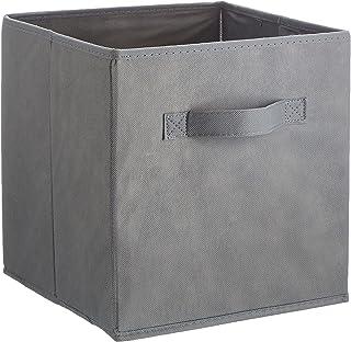 Univivi paniers de Rangement en Tissu,Bo/îte de Rangement pour v/êtements Non tiss/ée Organisateur de poubelles /à Jouets avec Deux poign/ées en Coton /épais , Ensemble de 4,Gris