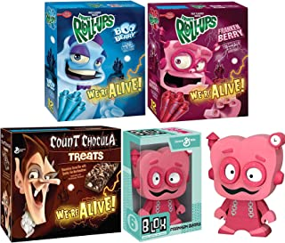 Franken Morning Monster Berry Crunch! Vinyl Figure Bundled with Fruit Roll Boo-Berry & FrankenBerry + Count Chocula Chocolate Cereal Bar with Marshmallows Character Breakfast Retro Fun Pack 4 Items