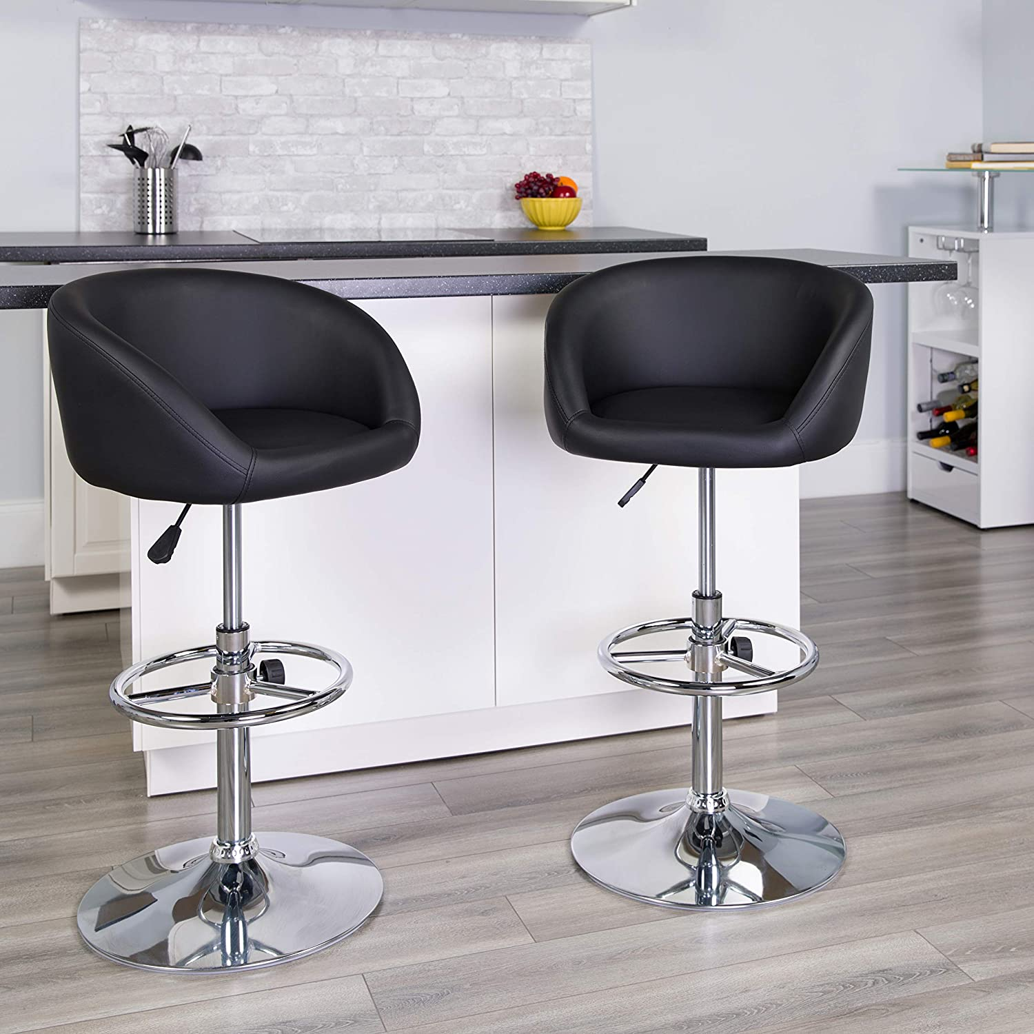 Flash Furniture Contemporary Black Vinyl Adjustable Height Barstool with Barrel Back and Chrome Base