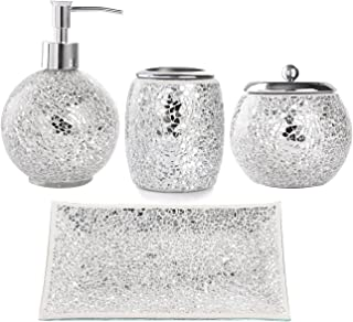 WH Housewares Bath Accessory Set, 4-PIECE Mosaic Glass Bathroom Accessories Completes with Lotion/Soap Pump, Cotton Jar, Tray, Toothbrush Holder - Finished in Shining Silver Modern Style