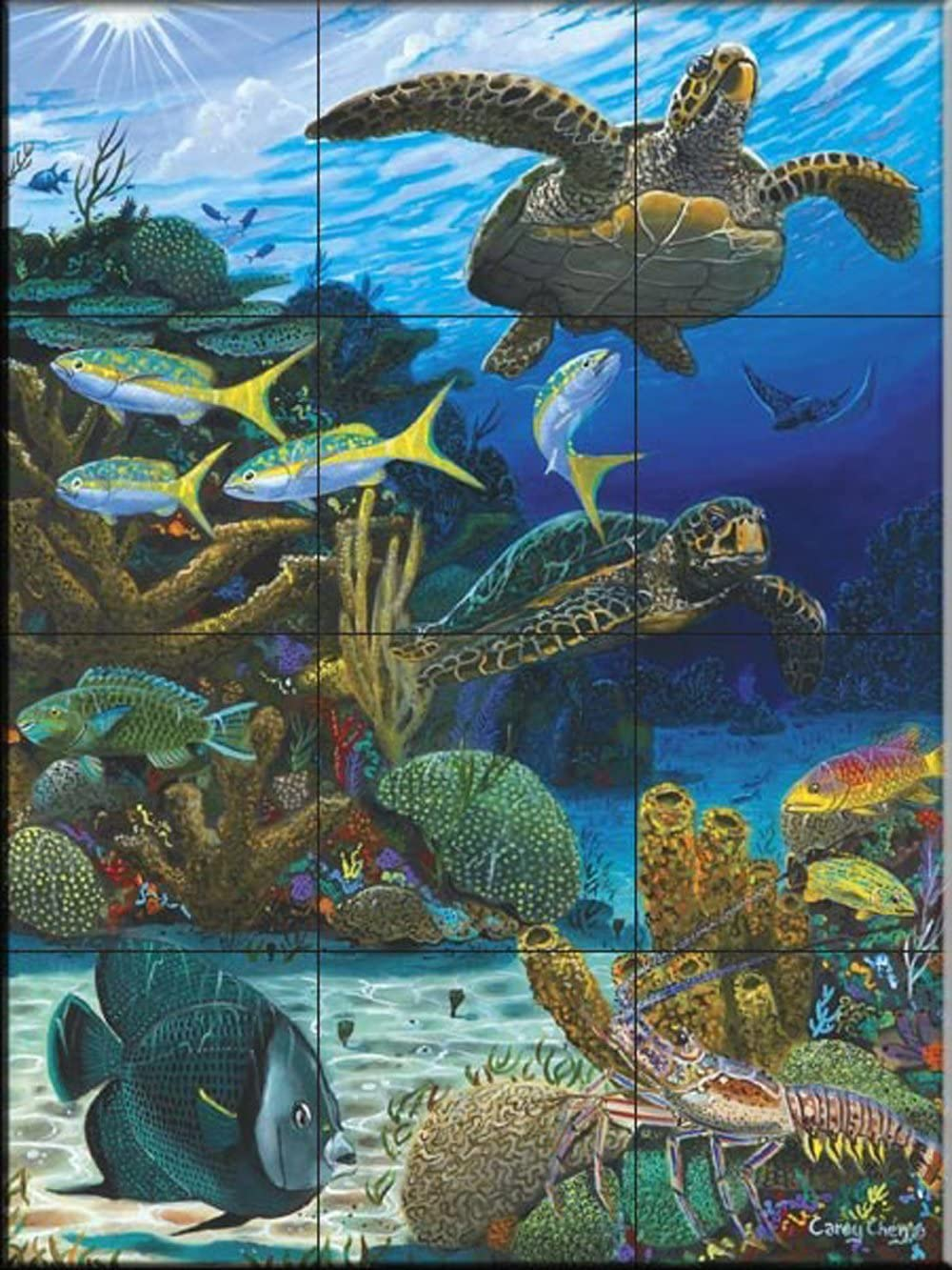 Ceramic Tile Mural - Caymen unisex Chen Ranking TOP11 Carey Turtles- by