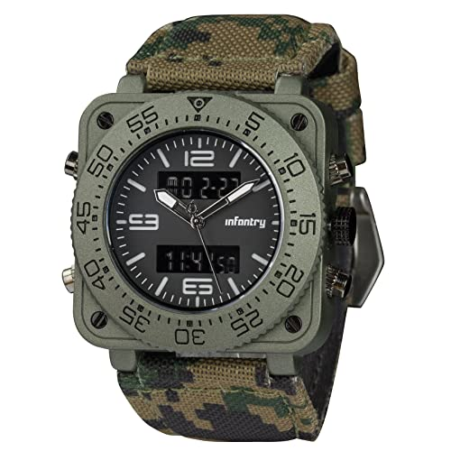 INFANTRY Big Face Mens Military Tactical Watch Heavy Duty Wrist Watches for Men Leather Band