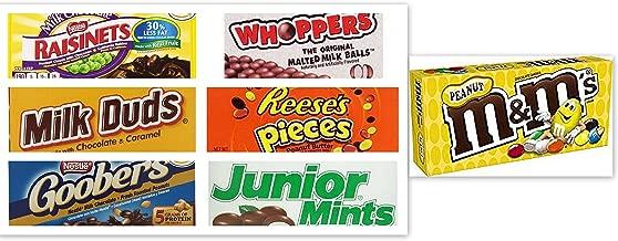 Movie Theater Candy Bundle (Pack of 7) includes Milk Duds, 5 oz + Whoppers, 5 oz + Junior Mints, 4 oz + Goobers, 3.5 oz + Reese's Pieces, 4 oz + Raisinets, 3.5 oz + M&M's Peanut, 3.1 oz