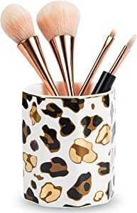 Jwest Pen Holder, Makeup Brush Holder Ceramic Shiny Gold Leopard Pattern Pencil Cup for Girls Kids Women Durable Stand Desk Organizer Storage Gift for Office, Classroom, Home White