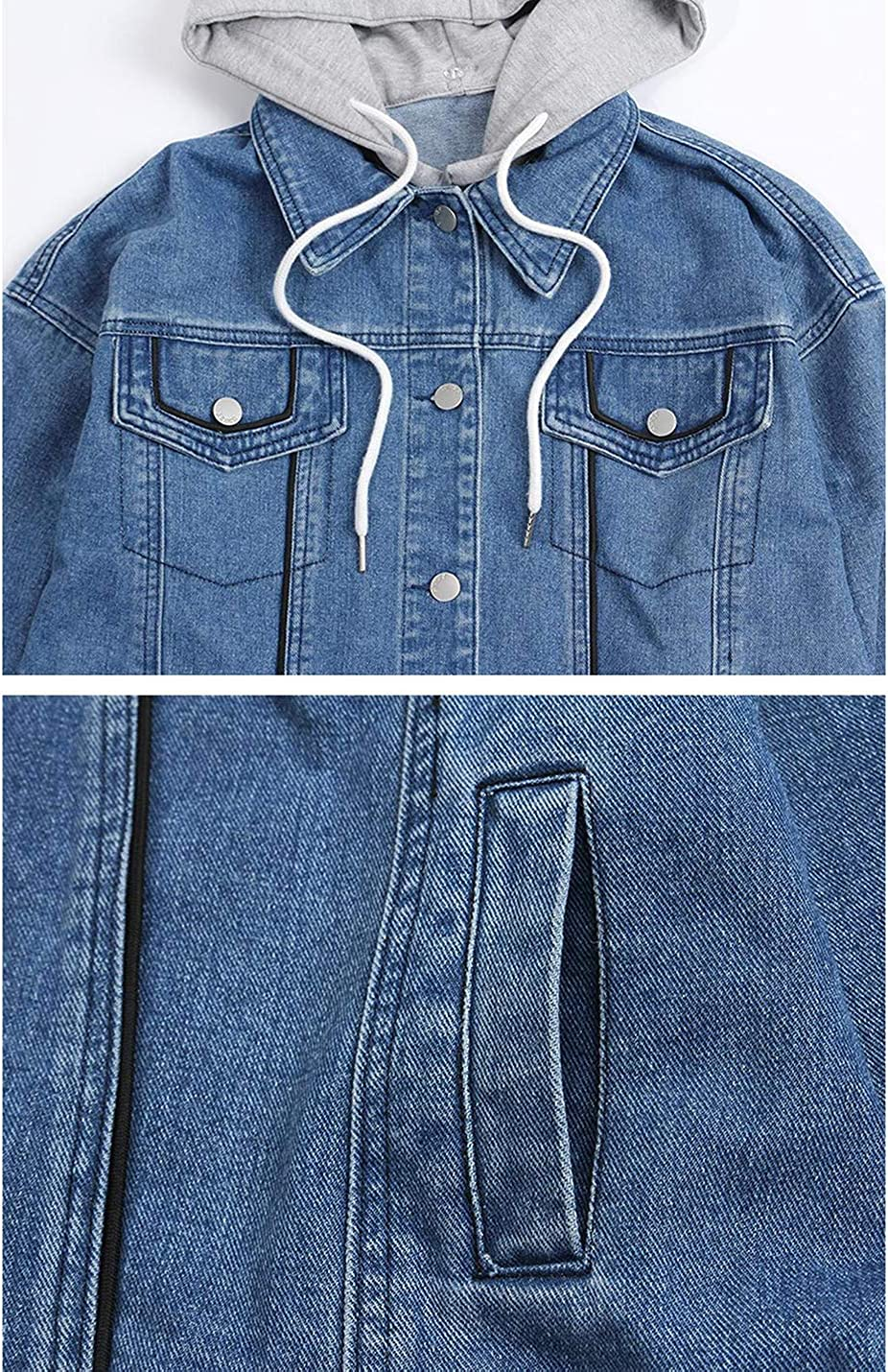Uaneo Women's Loose Button Short Denim Jean Jacket Outerwear with Knit Hood (Blue, Large)