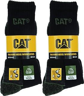 CAT, Wool Work Socks 4 Pares Calcetines Trabajo Térmico, Cómodo, Puntera Talón Reforzados, Lana