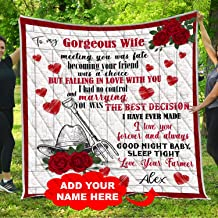 VTH Global Personalized to My Gorgeous Wife Quilt Blankets Customized Christmas Birthday Wedding Anniversary Engagement Custom Fiancee Farming Gifts from Farmer Husband Fiance