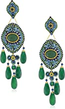 product image for Miguel Ases Blue Gold Stone and Green Onyx 5-Drop Earrings