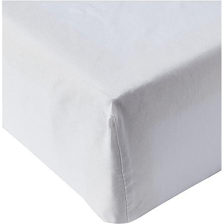 Amazon Basics Drap-housse en polycoton 200fils Blanc 180 x 200 x 30 cm