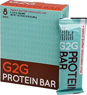 G2G Protein Bar, Peanut Butter Chocolate Chip Protein Bar, 8 Count Box