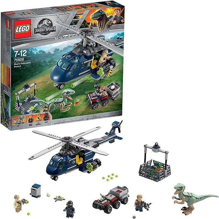 Lego 75928 jurassic world inseguimento sull'elicottero di blue (ritirato dal produttore)  simil jurassic park