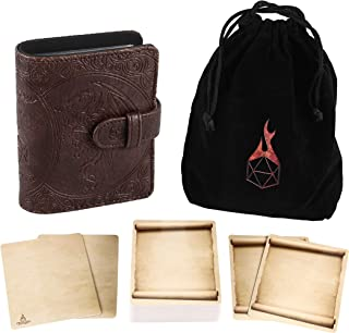 Forged Dice Co Book of Incantations (Dragon Edition) & Deck of Dry Erase Spell Cards with Velvet Storage Bag - Spellbook Cards Holder for Spell or Monster Cards - Fits DND 5th Edition or Magic Cards