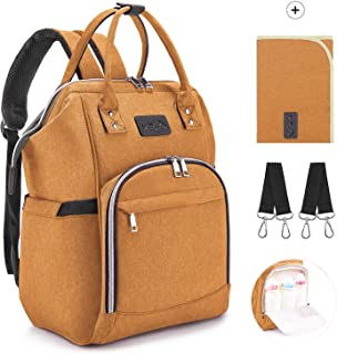 Orange Baby Diaper Nappy Backpack Waterproof Changing Bag Backpack with Large Capacity of 20L Baby Changing Bag BeebeeRun