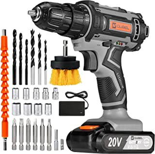 OUBEL Cordless Drill, 20V Power Drill 42 Nm, 2000mAh Battery, 1H Quick Charger, with 25 Pieces of Accessories, 3/8 inch Ch...