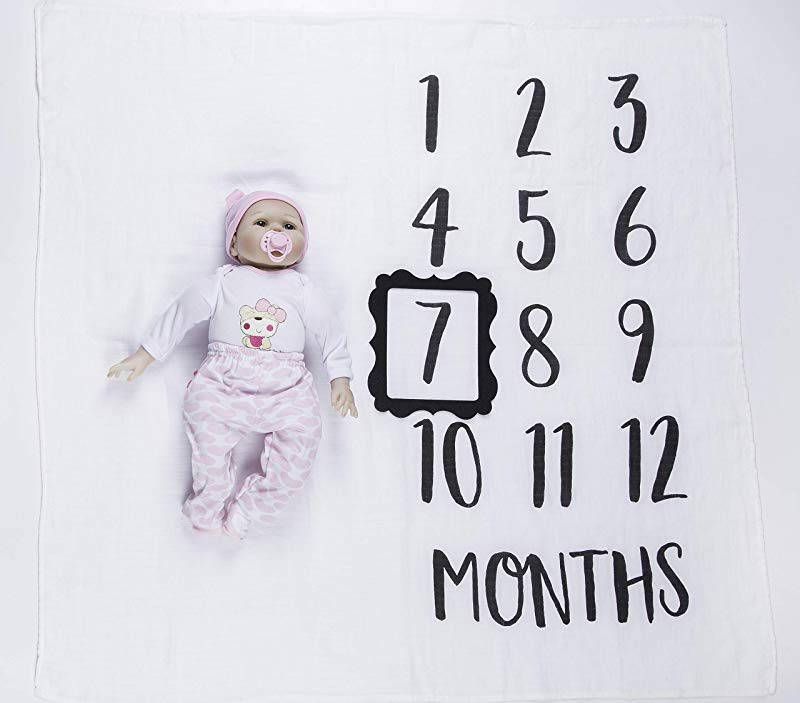 Moonen Baby Monthly Milestone Blanket 40x40 Inch Organic Cotton Swaddle Throw Photography Background Blanket Includes Picture Frame For Boy And Girl 1 To 12 Months