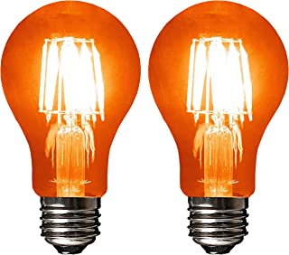 SleekLighting LED 6Watt Filament A19 Orange Colored Light Bulbs Dimmable – UL Listed, E26 Base Lightbulb – Energy Saving - Lasts for 25000 Hours - Heavy Duty Glass - 2 Pack