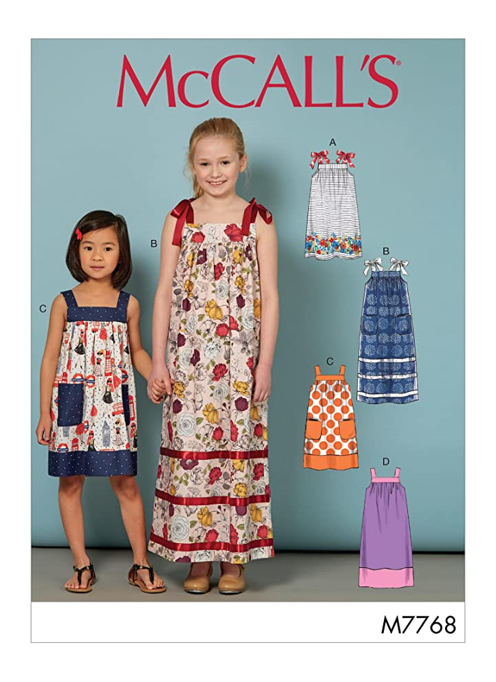 McCall's Patterns M7768 Children's/Girls' Dresses Sewing Pattern, CHJ (7-8-10-12-14), Multicolor