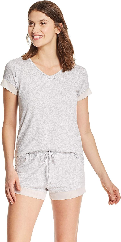 kathy ireland Womens Short Sleeve Shirt and Shorts Pajama Lounge Sleepwear Set (1X, 2X, 3X available)