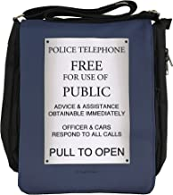 NaniWear Who Police Box Sign Classic Who Small Geek Doctor Messenger Bag Black