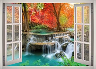 Natural Waterfall Forest Landscape View Window 3D Wall Decal Art Removable Wallpaper Mural Sticker Vinyl Home Decor West Mountain W96 (LARGE (49''W x 35''H))