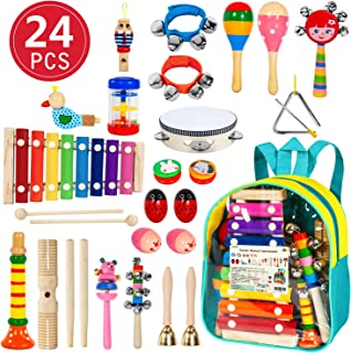 AILUKI Toddler Musical Instruments,24PCS 17 Types Wooden Percussion Instruments Tambourine Xylophone for Kids Preschool Education,Early Learning Musical Toy for Boys and Girls with Storage Backpack