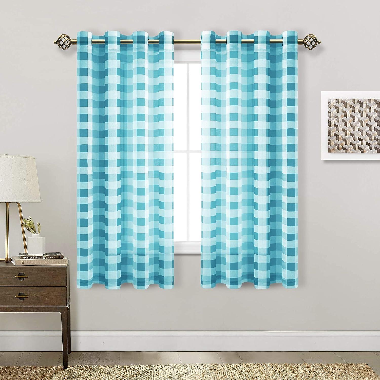 Hiasan Popular Dedication overseas Buffalo Plaid Sheer Curtains Filtering Voile - Light Chec