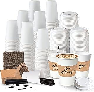 Juego completo de 120 tazas de café desechables – tazas de papel blanco café de 12 onzas, tapas de plástico, mangas aislan...