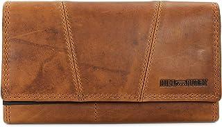Hill Burry Vintage Leder Damen Geldbörse Portemonnaie Geldbeutel Portmonee aus weichem Leder mit RFID in braun - 17,5x10x3...