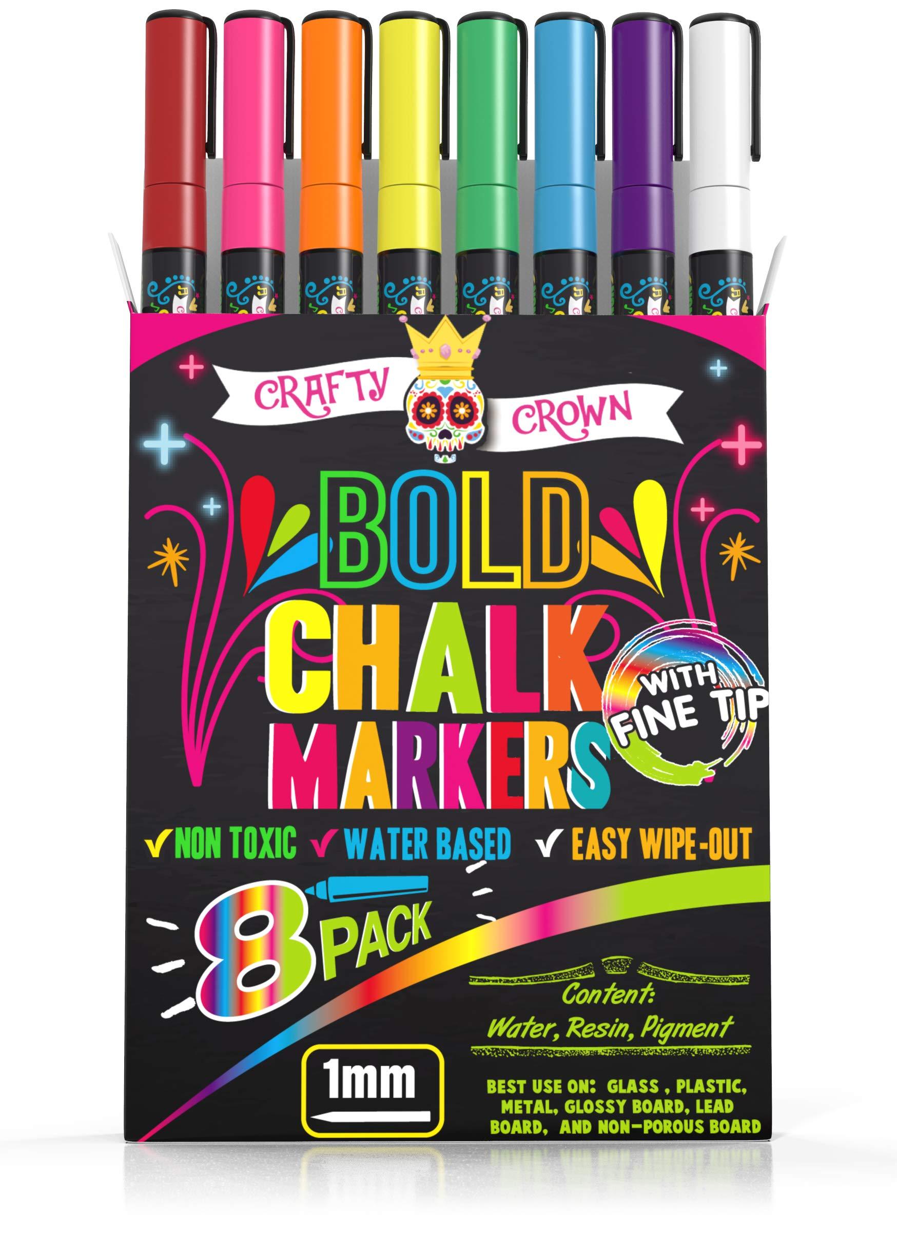 Liquid Chalk Markers Fine Tip - Bold Color Chalk Board Marker for Chalkboards, Windows, Signs, Blackboards- 24 Chalkboard Labels Included - 1mm Tip (8 Pack)