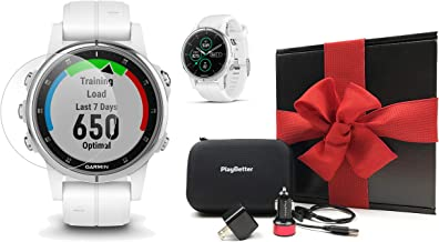 Garmin Fenix 5S Plus+ Sapphire (Carrera White) GPS Watch Gift Box Bundle | +Screen Protectors, PlayBetter USB Chargers & Protective Case | 2018 Model | Black Gift Box, Red Bow