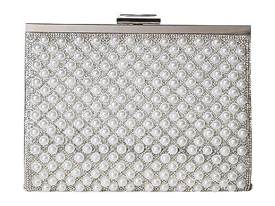 Jessica McClintock Mckayla Pearl Frame Clutch (Silver) Clutch Handbags