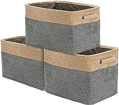 Sorbus Storage Large Basket Set [3-Pack] - 15 L x 10 W x 9 H - Big Rectangular Fabric Collapsible Organizer Bin with Carry...