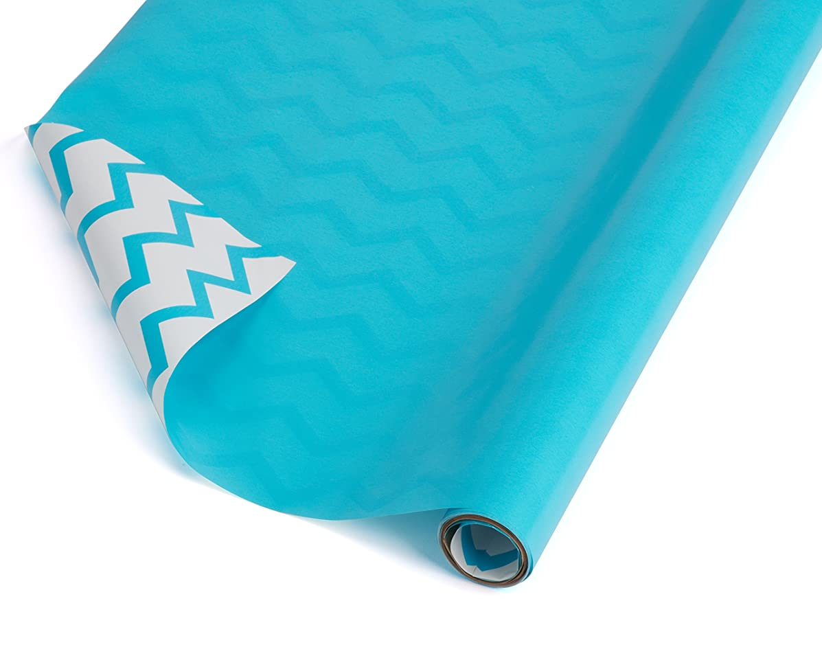American Greetings Reversible Wrapping Paper, White with Aqua Chevron Stripes, 2.5' x 12'