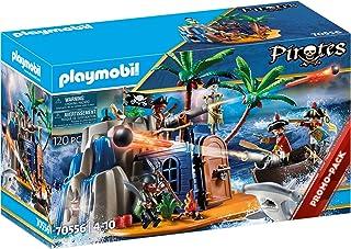 PLAYMOBIL Pirates 70556 Île de Pirate avec cachette au trésor et Bateau Flottant pour Enfants de 4 à 10 Ans