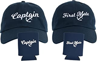 Captain Hat & First Mate | Matching Skipper Boating Baseball Caps & Beer Holders