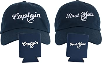 Captain Hat & First Mate | Matching Skipper Boating Baseball Caps & Beer Holders Navy
