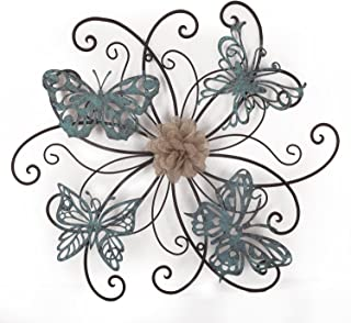 Adeco DN0015 Flower & Butterfly Urban Design Metal Wall Decor for Nature Home Art..